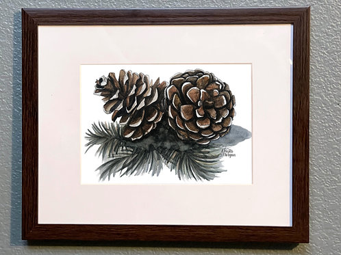 Pinecones, 8x10 Framed, Watercolor Print, Matted, Gift
