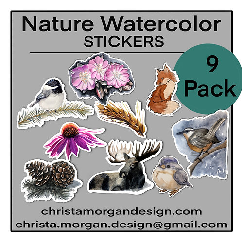 Nature Watercolor Stickers, Mini Sticker Pack, Set of 9, Moose, Birds, Pinecones