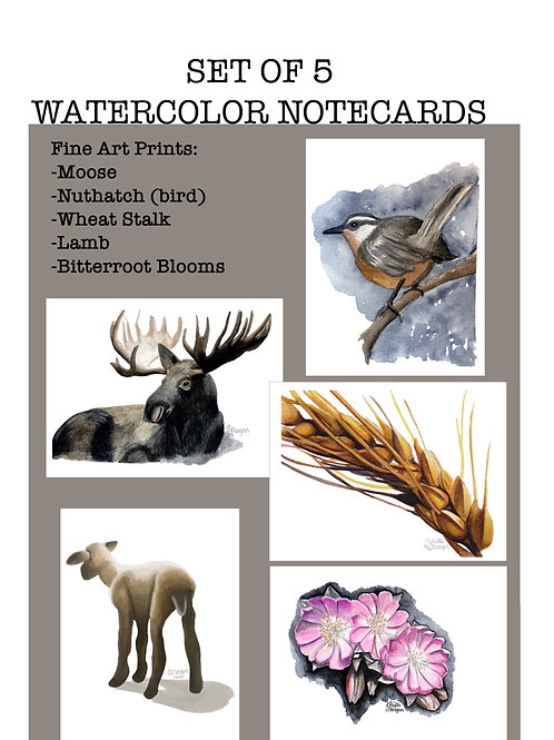 Set of 5, Notecards, Watercolor Fine Art Prints, Cards and Envelopes