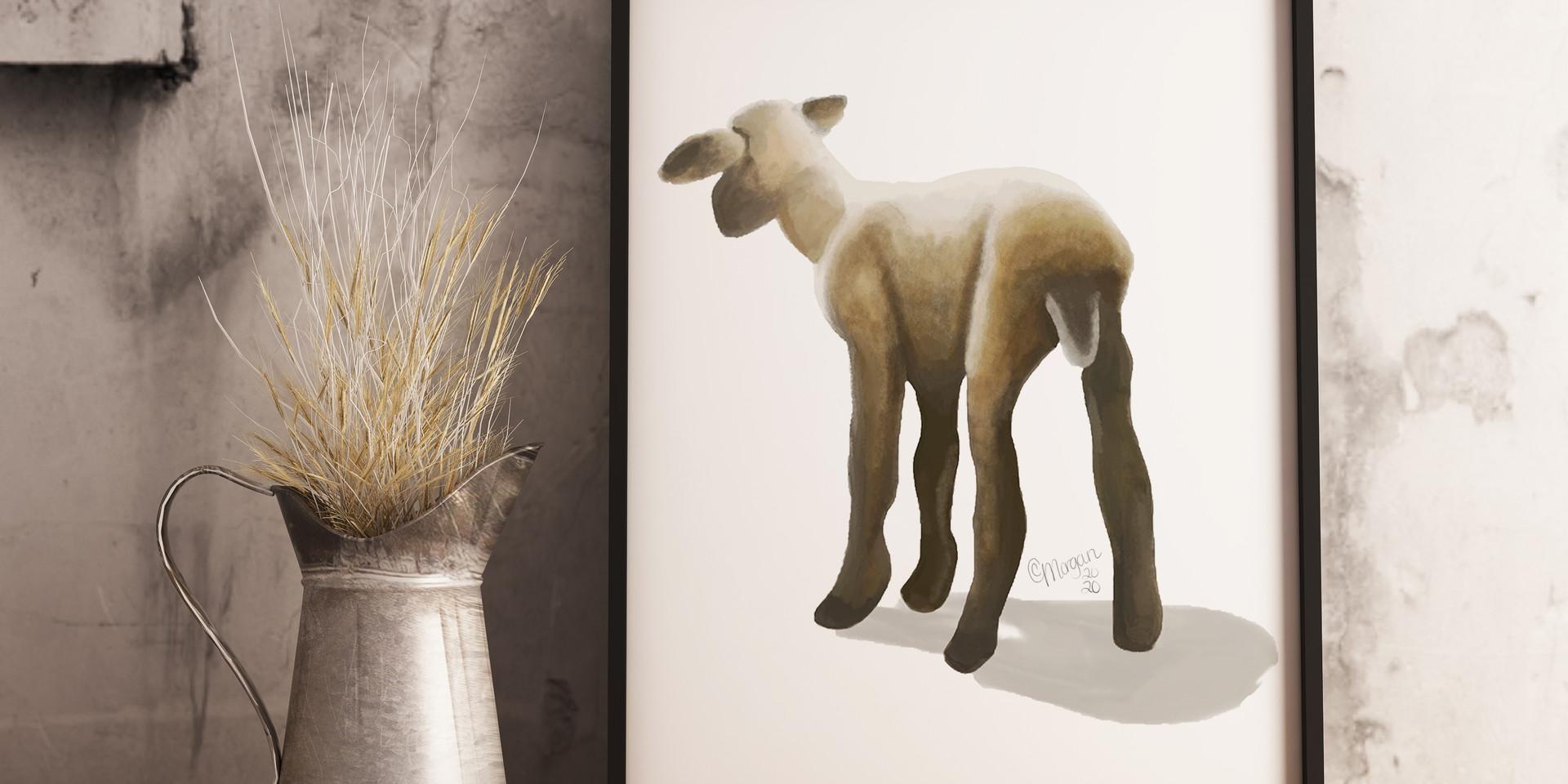 Watercolor Lamb Print