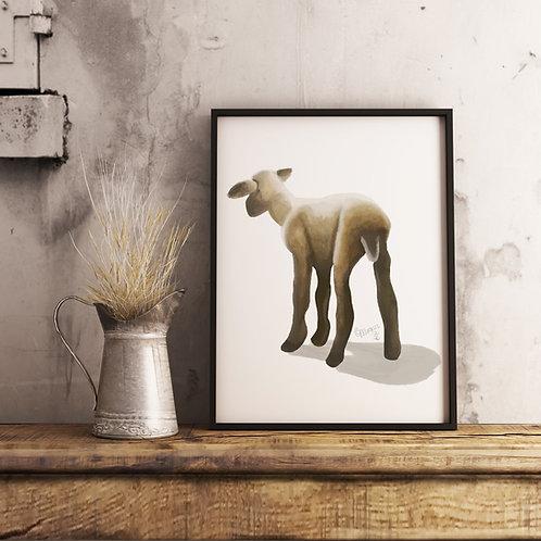 Lamb, Watercolor Print, Sheep Painting, Realism