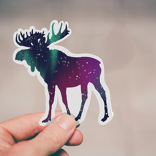 Moose Sticker, Northern Lights, Vinyl Sticker