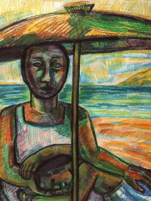Nuria Quevedo | Stillleben mit Maske | 1990 | Kohle, Tempera auf Leinwand | 90 x 120 cm