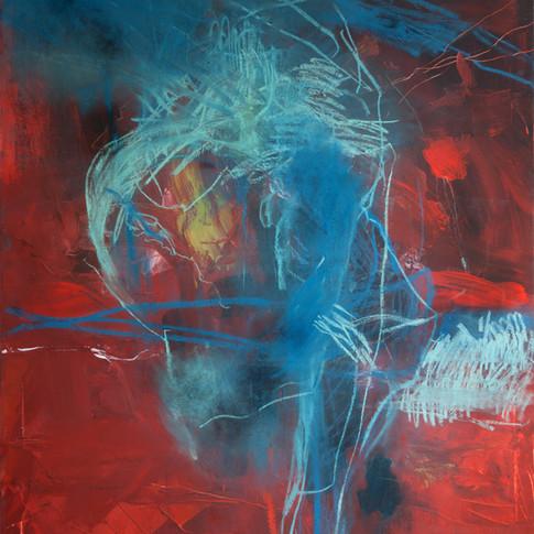 Vivien Nowotsch | Elch (Studie) | 2010 | Acryl, Pastellkreide auf Leinwand | 100 x 80 cm |1930 Euro