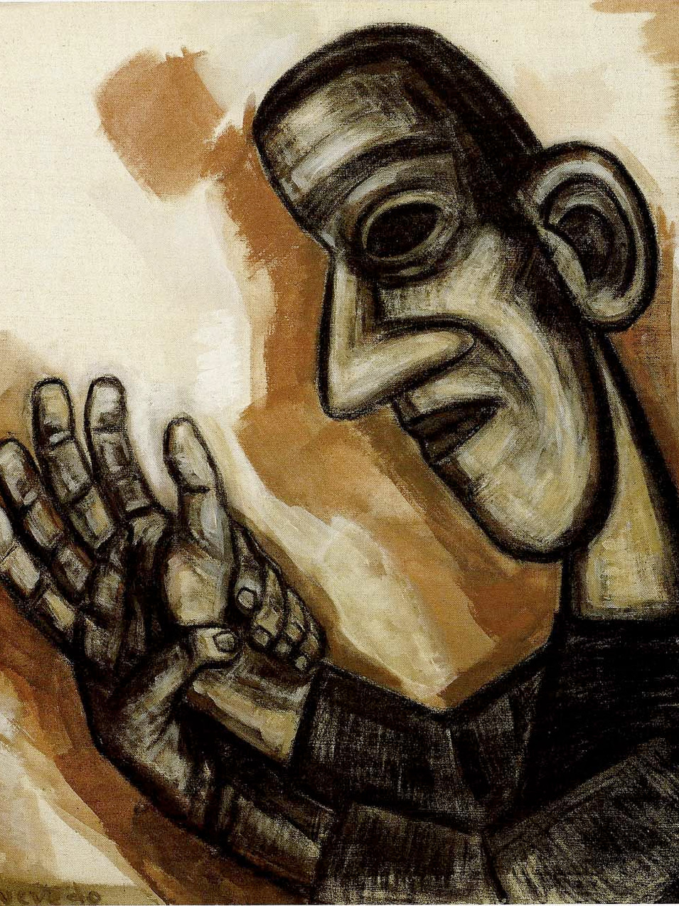 Nuria Quevedo | Kopf-Hand | 1992 | Kohle, Tempera auf Leinwand | 116 x 100 cm