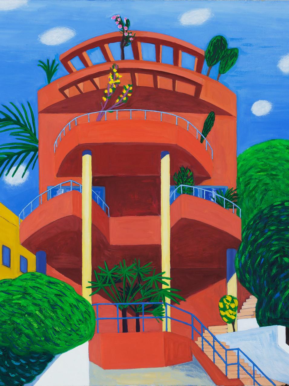 Gudrun Petersdorff | Rotes Haus | Herzliya | 2010 | Öl auf Leinwand | 110 x 100 cm | Foto Christoph Sandig | 4800 Euro