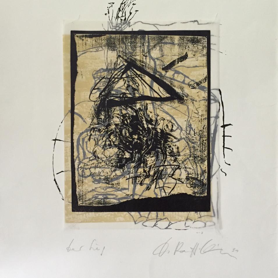 Dagmar Ranft-Schinke   Der Sieg   1991   Collage, genäht, Serigrafie und Lithographie 65,5 x 53,5 cm   1500 Euro