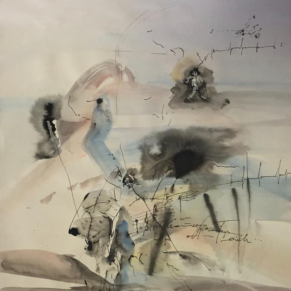 Dagmar Ranft-Schinke   Inspiration (Stockhausens Spaziergang am Teich)   2013   Mischtechnik, Aquarell, Tusche   75 x 53 cm   1300 Euro