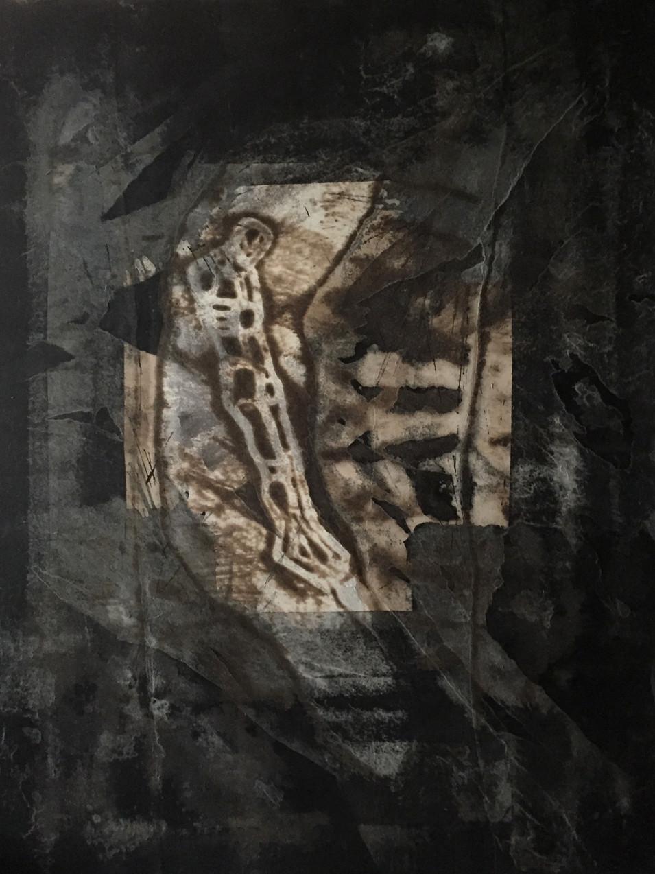 Michael Morgner | o.T. | o.J. | Tuschlavage mit Asphalt, Collage, Decollage u. Schablone auf Papier auf Leinwand kaschiert | 2010 | 92 x 71 cm | 6200 Euro