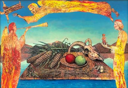 Siegfried Otto-Hüttengrund | Die Segnung | 2017 | Öllasurtafelbild | 55 x 69 cm | 1200 Euro
