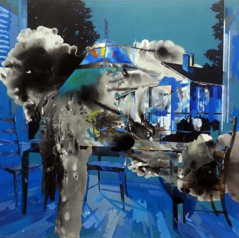HaNuk Jung | Blau | 2015 | Öl und Emaille auf Leinwand | 130 x 160 cm | 5800 Euro