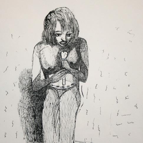 Claus Weidensdorfer | Sängerin mit Herz | 2009 | Feder, Tusche auf Papier | 40,5 x 31 cm