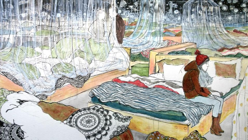 Lydia Lander | Wie im Himmel... | 2014 | Tusche und Farbstift auf Papier | 30 x 42 cm | 500 Euro