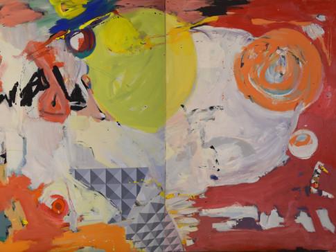 Harald Gallasch/ Wolfgang Opitz | Raumkopplung | 2000 | Malerei auf Leinwand | 160 x 260 cm | 7900 Euro