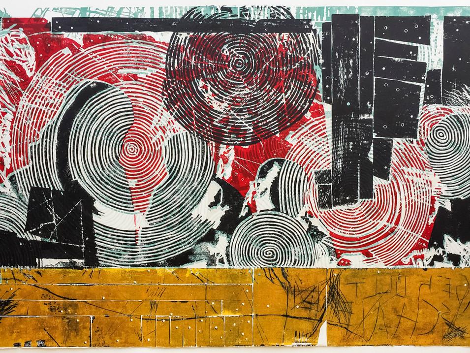 Erik Seidel |Furore II | 2016 | Holzdruck | Druckstock | 108 x 190 cm |Papier 124 x 220 cm |1200 Euro | gerahmt 1500 Euro