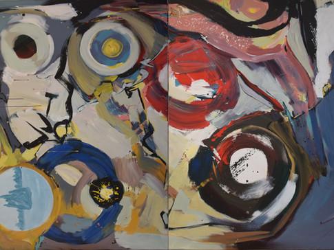 Harald Gallasch/ Wolfgang Opitz | o.T. | 2000 | Malerei auf Leinwand | 160 x 260 cm | 7900 Euro