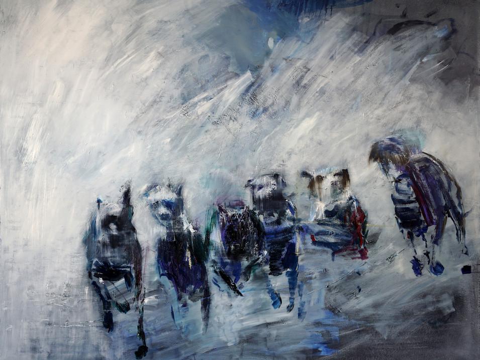 Martin Paul Müller | Hunde 5| 2016 | Öl auf Leinwand | 140 x 180 cm