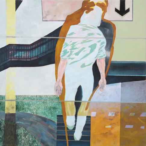 Pierre Fischer   Down Rework   2003 - 14   Öl und Acryl auf Leinwand    65 x 65 cm   2800 Euro