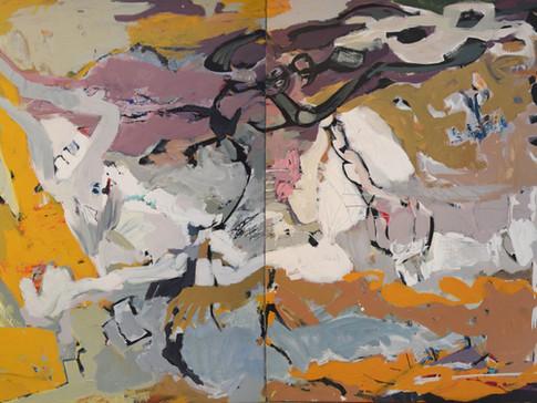 Harald Gallasch/ Wolfgang Opitz | AnGaMa | 2000 | Malerei auf Leinwand | 160 x 260 cm | 7900 Euro