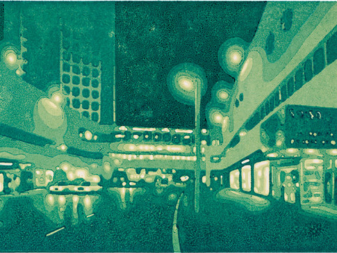 Harald Alff |Tel Aviv 2 | Farbholzschnitt | 2013 | Papierformat 60 x 42 cm | Grafikformat 48 x 32 cm | 150 Euro