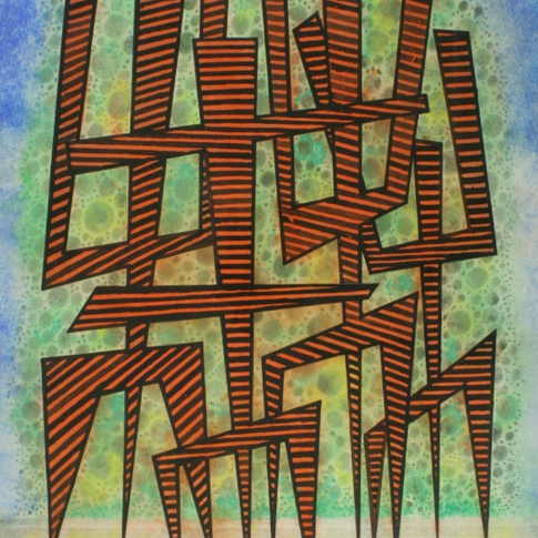 Georg Paul I figurative Komposition, rot -schwarz gestreift I 1969 I Aquarell und Tusche I 42 x 32 cm I 1500 Euro