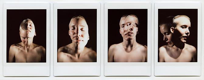 Florian Merkel | Spalt |2018 | FUJI Instax mini | 4 x Bildformat 6,1 x 4,5 cm Rahmenmaß 18 x 32,5 cm | 1900 Euro