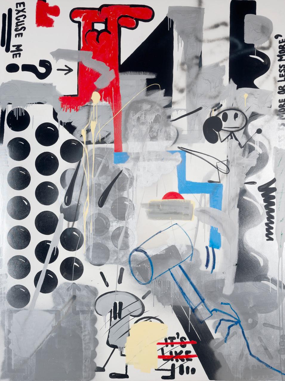 Oliver Kossack | Drip Wars (He had a third Martini) | Flat Balls, flattened | 2015 | Öl, Acryl, Sprühlack auf Leinwand | 260 x 200 cm | 15000 Euro