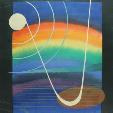 Georg Paul I Vor dem Regenbogen I 1975 I Aquarell und Tempera, Rand gespritzt I 46 x 37 cm I 1600 Euro