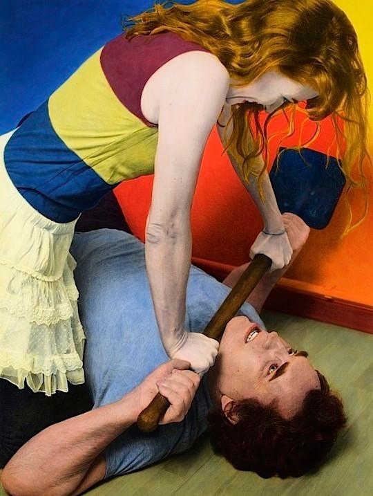 Florian Merkel | Judith | 2015 | Eiweißlasurfarbe auf Silbergelatinebaryt | 1/2 100 x 75 cm | Holzrahmen mit Museumsglas | 5000 Euro