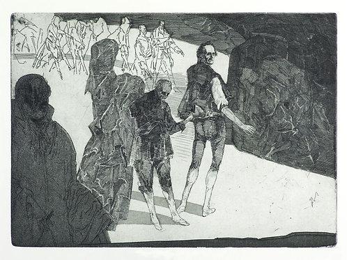Trompeten. König Heinrich, Lords und Gefolge