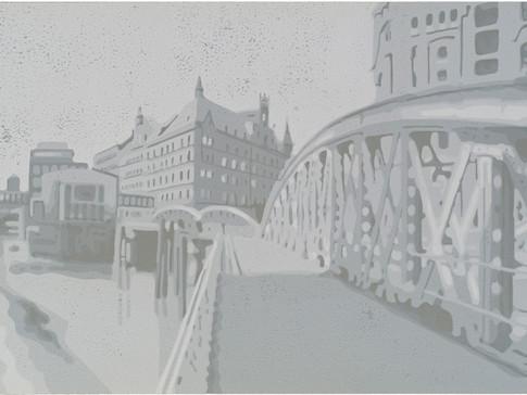Harald Alff | Hamburg 1 | Farbholzschnitt | 2012 | Papierformat 50 x 70 cm | Grafikformat 31,5 x 59,5 cm | 180 Euro