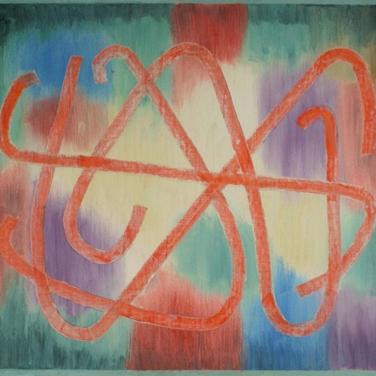 Georg Paul I Farbig Striche  I 1962 I Öl auf Pappe I 50 x 58 cm I 2100 Euro