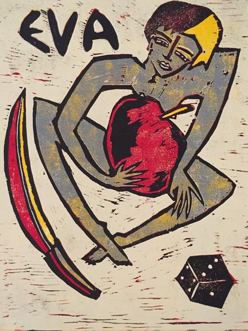Klaus Süß   Eva nach R.M.Rilke   2015   Farbholzschnitt   2/6   60 x 50 cm   550 Euro