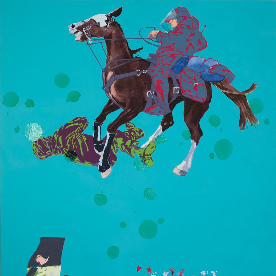 Pierre Fischer | force de l'ordre 3 | 2009  | Öl, Acryl und Lack auf Leinwand | 180 x 140 cm |6900 Euro