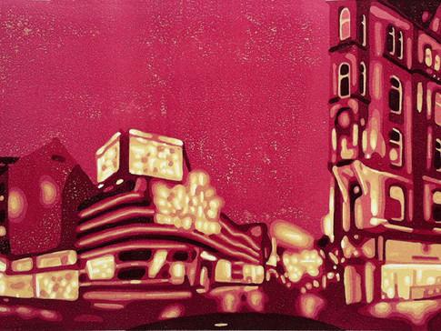 Harald Alff | Hamburg 5 | Farbholzschnitt | 2012 | Papierformat 50 x 70 cm | Grafikformat 31,5 x 59,5 cm | verkauft