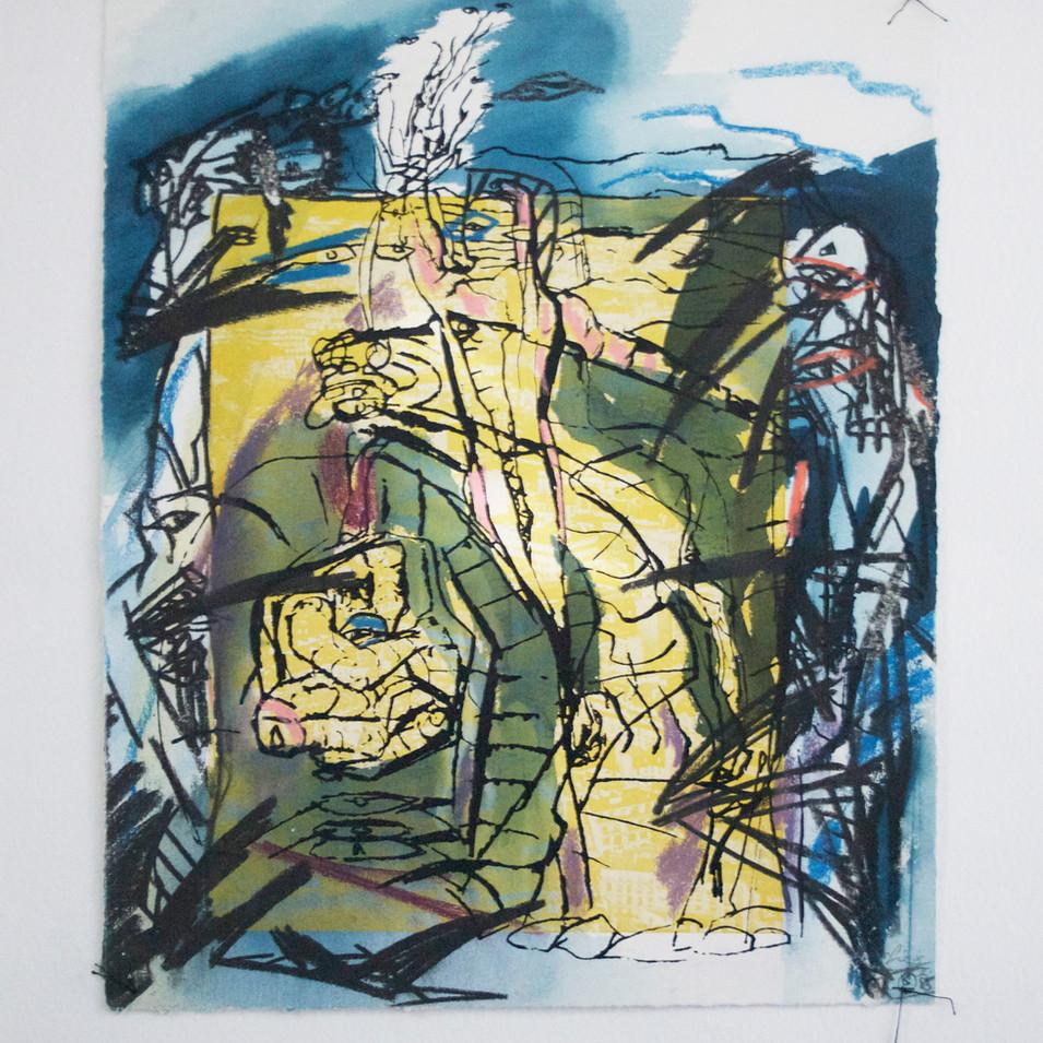 Dagmar Ranft-Schinke   Sieg II   1985   Collage, genäht, Serigrafie, aquarelliert   53 x 67,5 cm  500 Euro