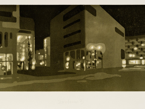 Harald Alff | Zentrum 3 | FHS + Rahmen | 2011 | Papierformat 44,5 x 76,5 cm | Grafikformat 27 x 60 | 230 Euro