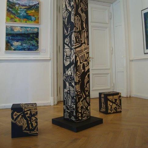 Wolfgang Opitz | Objekt | 2019 | Holz, Holzschnitt | 46 x 38 x 33 cm | 1200 Euro