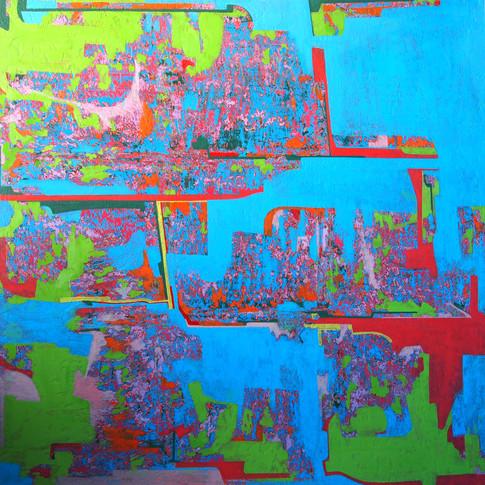 Mamiko Takayanagi | Heavenly view | 2015 | Öl auf Leinwand | 91 x 91 cm | 4500 Euro