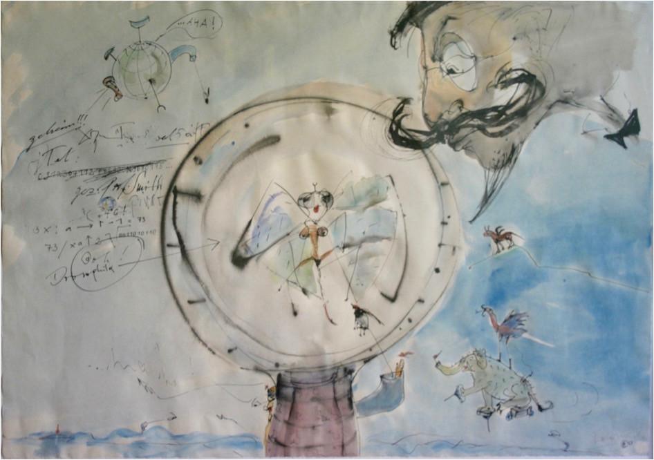 Dagmar Ranft-Schinke   Laborversuche Prof. Smith   2013   Mischtechnik, Tusche, Acryl, Aquarell 53,5 x 76 cm   1900 Euro