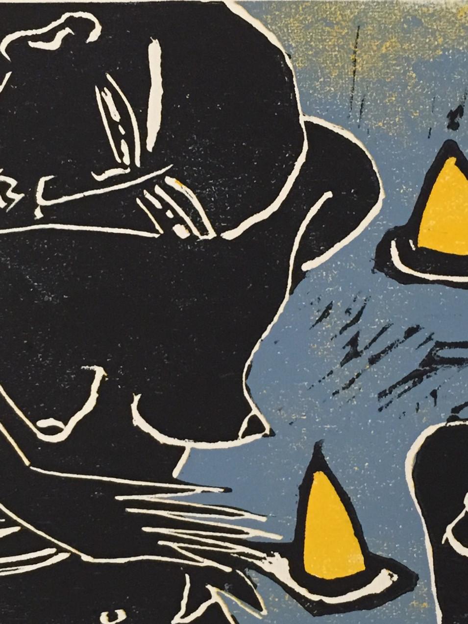 Klaus Süß   Hütchenspiel   Mappe Spiel mit mir   2012   Farbholzschnitt   1/6   35 x 50 cm  Mappe komplett 1300 Euro