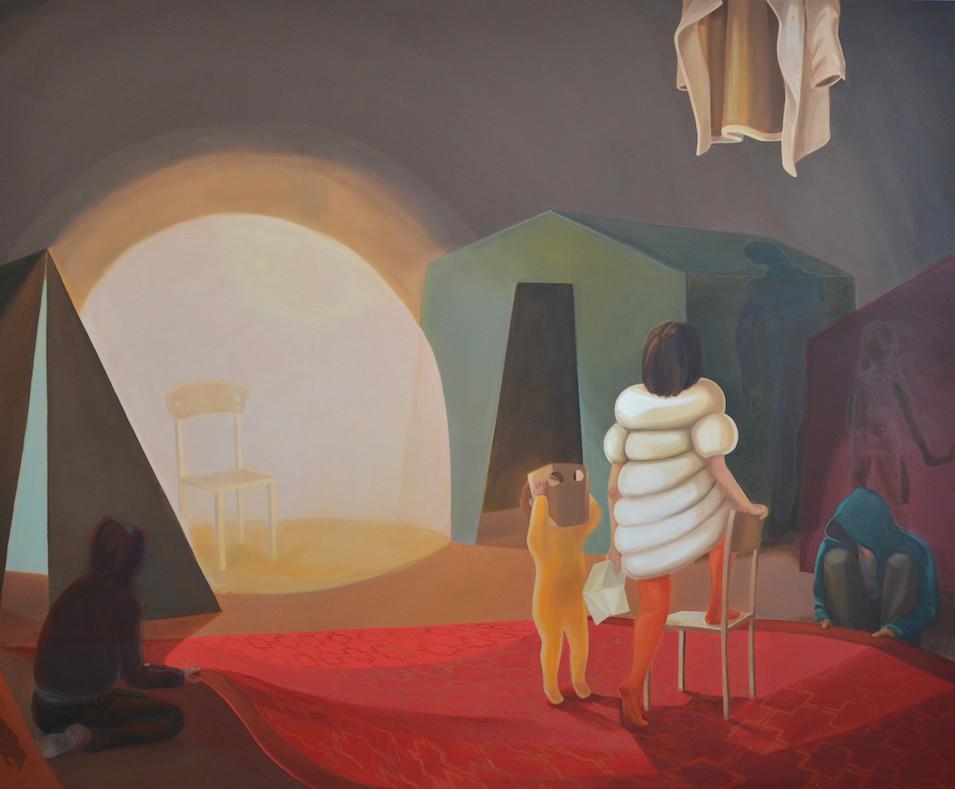 Melanie Kramer | Versammlung-II | 2014 | Öl auf Leinwand | 220 x 280 cm | 5500 Euro