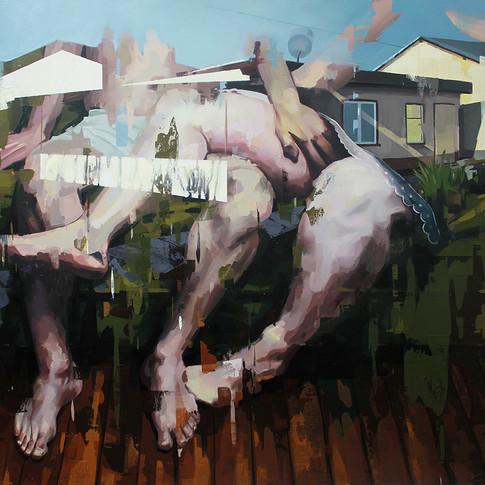 Franz Ehrenberg | Schrebergarten | 2012 | Öl auf Leinwand | 145 x 180 cm | 5500 Euro
