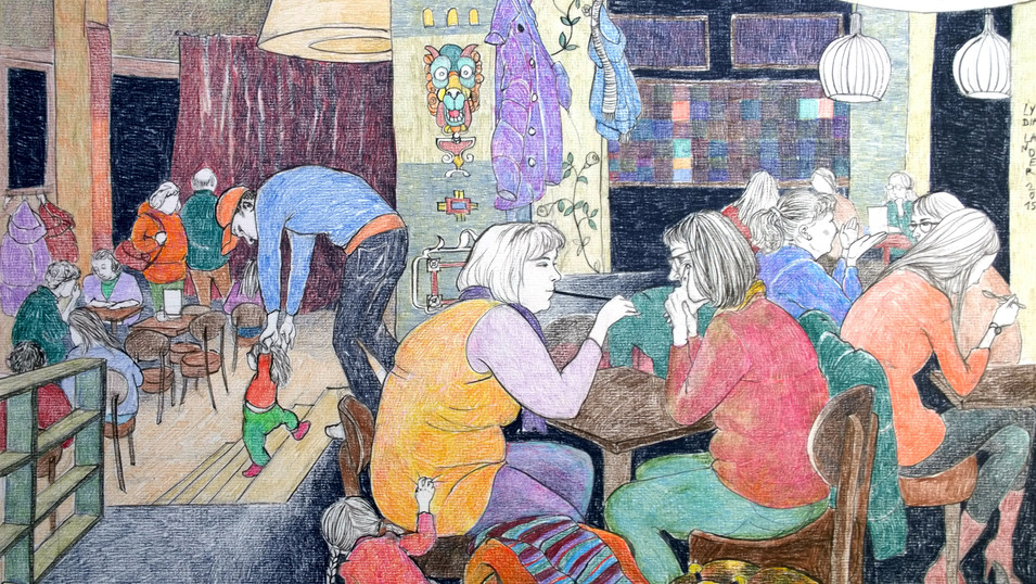 Lydia Lander | Erste Schritte | 2015 | Tusche und Farbstift auf Papier | 30 x 42 cm | 500 Euro