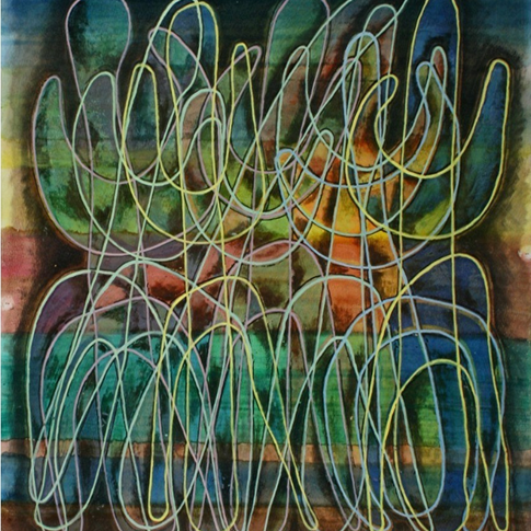 Georg Paul I Lineare Figuration I 1969 I Öl und Tempera auf Papier I 61 x 53 cm I 2300 Euro
