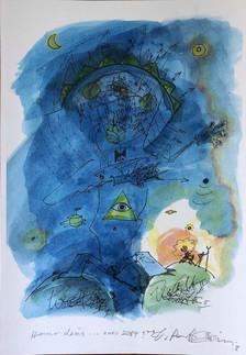 Dagmar Ranft-Schinke | Homo deus, anno... 2084? | 2018 | Druck Aquarelliert | 21 x 30 cm | 50 Euro