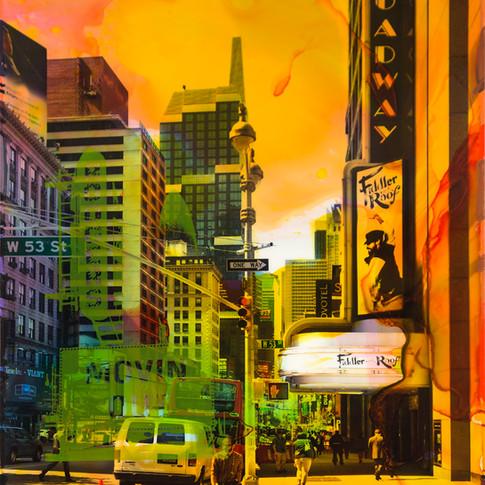 NY Reloaded E 18  | 2017 | Malerei und Siebdruck auf Fotografie | 40 x 30 x 5 cm | 1300 Euro