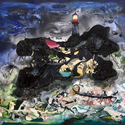 HaNuk Jung | Reise | 2014 | Öl und Emaille auf Leinwand | 130 x 160 cm | 5800 Euro