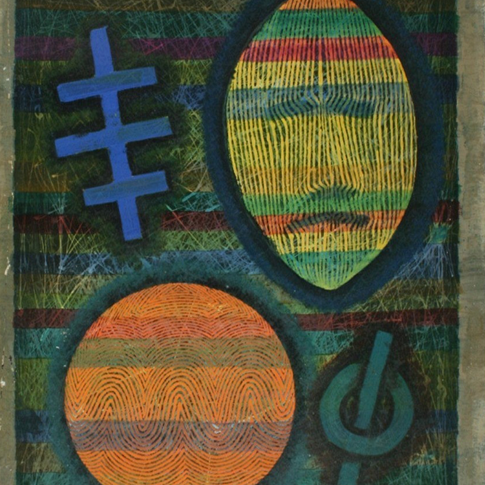 Georg Paul I Komposition 461 I o. J. I Tempera und Öl,lasiert I 65 x 48 cm I 2200 Euro