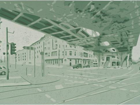 Harald Alff | Berlin 1 | 2012 | Farbholzschnitt | Papierformat 50 x 70 cm | Grafikformat 31,5 x 59,5 cm  | 200 Euro